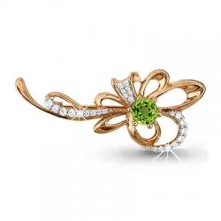 Золотая брошка в виде цветка с хризолитом, фианитом