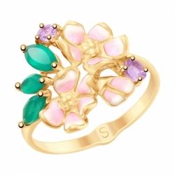 Кольцо из золота с эмалью и полудрагоценными вставками