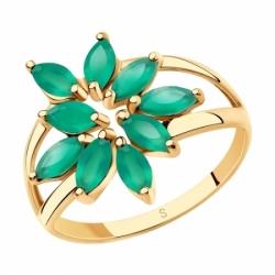 Декоративное золотое кольцо с агатами