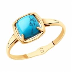 Кольцо из золота с бирюзой (синт.)