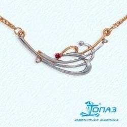 Золотое колье Флора с рубином, бриллиантами