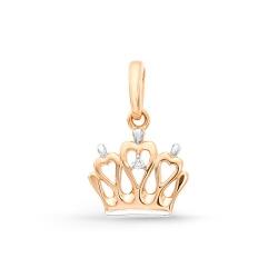 Детская золотая подвеска Корона (Бриллиант)