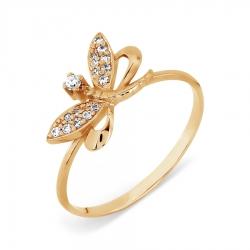 Золотое кольцо Стрекоза с фианитами
