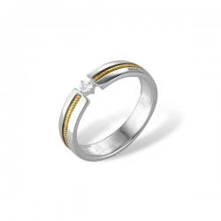 Кольцо из белого золота 585 пробы с фианитом
