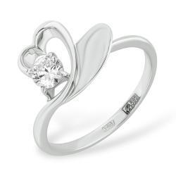 Кольцо в виде сердца из белого золота с фианитом