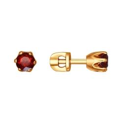 Золотые серьги c гранатами SOKOLOV