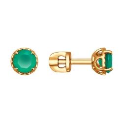 Золотые серьги с зеленым агатом SOKOLOV