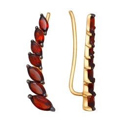 Золотой зажим Листья с гранатами SOKOLOV