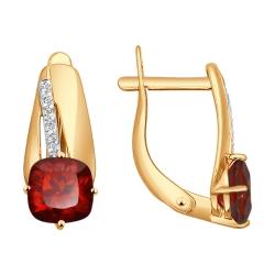Золотые серьги с гранатами SOKOLOV