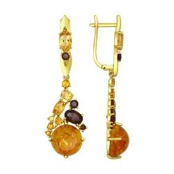 Серьги из желтого золота с полудрагоценными вставками SOKOLOV