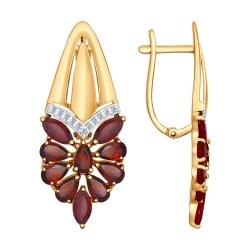 Золотые серьги (Фианит, Гранат) SOKOLOV