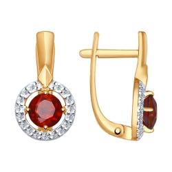 Золотые серьги (Гранат, Фианит) SOKOLOV