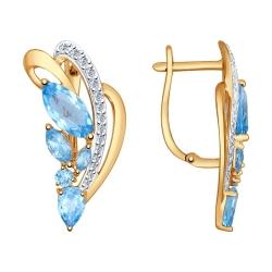 Золотые серьги (Фианит, Топаз) SOKOLOV