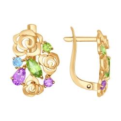 Золотые серьги Цветы (Аметист, Топаз, Хризолит) SOKOLOV