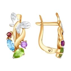 Золотые серьги Бабочка (Цветные камни) SOKOLOV