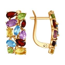 Золотые серьги (Цветные камни) SOKOLOV