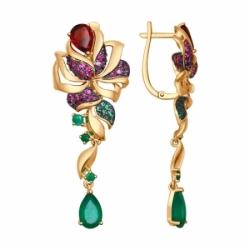 Золотые висячие серьги Цветы с цветными камнями SOKOLOV