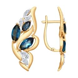Серьги из золота с синими топазами и фианитами SOKOLOV