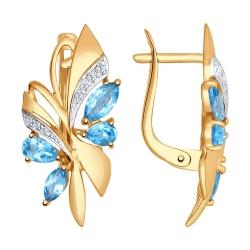 Золотые серьги Бабочки c топазом и фианитами SOKOLOV