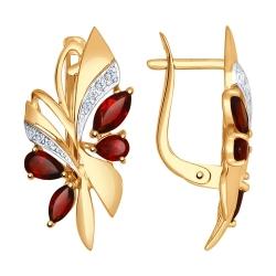 Золотые серьги Бабочки c гранатом и фианитами SOKOLOV