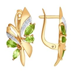Золотые серьги Бабочки c хризолитом и фианитами SOKOLOV
