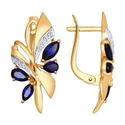 Золотые серьги Бабочки c корундом и фианитами SOKOLOV