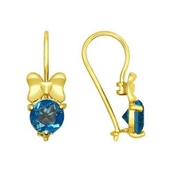 Серьги из желтого золота с синими топазами