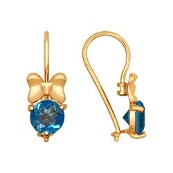 Золотые серьги Бантики с топазом SOKOLOV