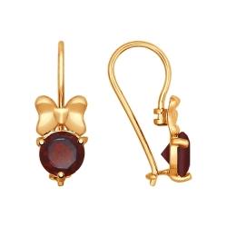 Золотые серьги Бантики с гранатом SOKOLOV