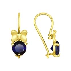 Серьги из желтого золота с синими корунд (синт.)
