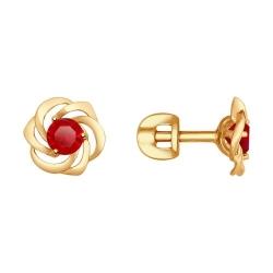 Серьги-пусеты из золота с красными корунд (синт.)