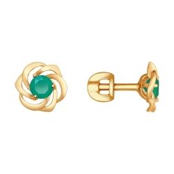 Золотые серьги-гвоздики Цветы c Агат SOKOLOV
