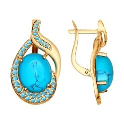 Серьги из золота с бирюзой (синт.) и голубыми поделочные SOKOLOV