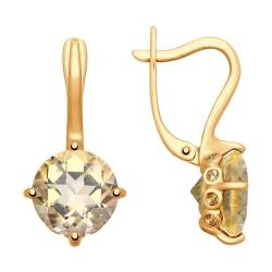Серьги из золота с топазами и жёлтыми swarovski zirconia