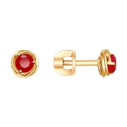Серьги из золота с красными корунд (синт.)
