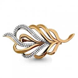 Золотая брошка в виде листа с фианитом