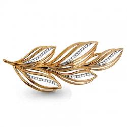 Золотая брошка Листья с фианитом