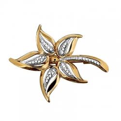 Золотая брошка Цветок с фианитом
