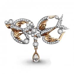 Золотая брошка Птицы с фианитом