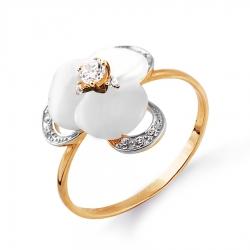 Золотое кольцо Цветок с перламутром, фианитами
