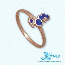 Детское золотое кольцо Пудель с эмалью