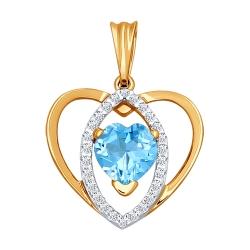Золотая подвеска «Сердце» c топазами SOKOLOV