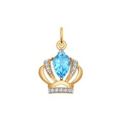 Золотая подвеска Корона (Фианит, Топаз) SOKOLOV