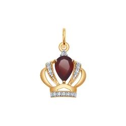 Золотая подвеска Корона (Фианит, Гранат) SOKOLOV