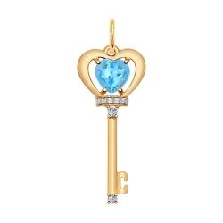 Золотая подвеска в виде ключа(Фианит, Топаз) SOKOLOV