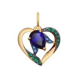 Золотая подвеска в форме сердца (Фианит, Корунд) SOKOLOV