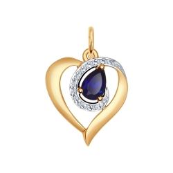 Золотая подвеска Сердце (Фианит, Корунд) SOKOLOV