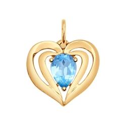 Золотая подвеска Сердце (Топаз) SOKOLOV