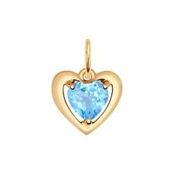 Золотая подвеска в форме сердца (Топаз) SOKOLOV