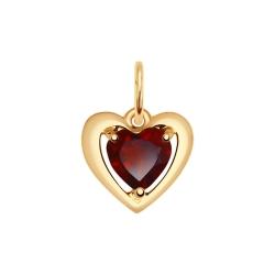 Золотая подвеска в форме сердца (Гранат) SOKOLOV